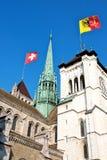 Markierungsfahnen über Genf Lizenzfreies Stockbild