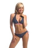 Markierungsfahnen-Bikini-Blondine lizenzfreies stockfoto