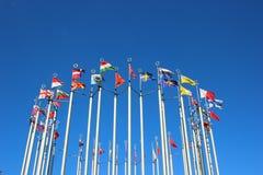 Markierungsfahnen der europäischen Länder Stockfotografie