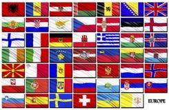 Markierungsfahnen der europäischen Länder Stockfoto