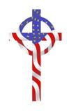 Markierungsfahnen-Kreuz, im Gott vertrauen wir Lizenzfreie Stockfotografie