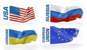 markierungsfahnen Russland, USA, Ukraine, Europäische Gemeinschaft Lizenzfreie Stockfotos