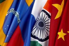 Markierungsfahnen von Brasilien. Russe, Indien und China Lizenzfreies Stockfoto