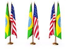 Markierungsfahnen von Brasilien und von vereinigten Zustand Lizenzfreies Stockfoto