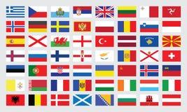 Markierungsfahnen von Europa Stockbild