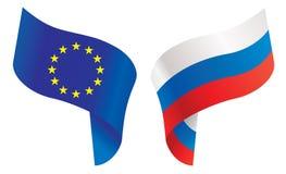 Markierungsfahnen von Europa und von Russland Lizenzfreie Stockfotografie