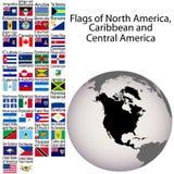 Markierungsfahnen von Nordamerika und von Zentralamerika Lizenzfreie Stockfotos
