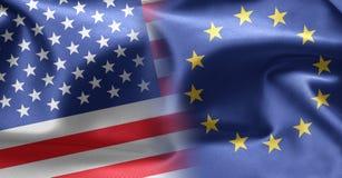Markierungsfahnen von USA und von Europa Lizenzfreie Stockfotos