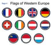 Markierungsfahnen von Westeuropa Flaggen 4 Stockbild