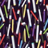 Markiery, liniowowie, rękojeści kapilarne i barwionych ołówków bezszwowy wzór, sztuki tło Wektorowa stubarwna sztuka royalty ilustracja