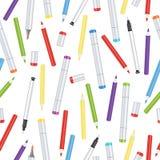 Markiery, liniowowie, rękojeści kapilarne i barwionych ołówków bezszwowy wzór, sztuki tło Wektorowa stubarwna sztuka ilustracja wektor