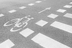 Marking bicycle paths and pedestrian crossing Stock Images