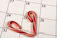 Marking Christmas Day with Candy Canes Royalty Free Stock Images