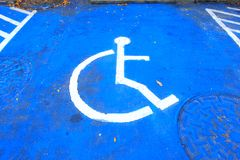 Marking of disabled handicap parking space stock image