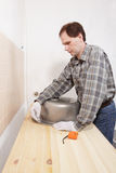 Marking a hole for a kitchen sink Royalty Free Stock Photos