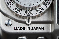 Marking Made in Japan on camera Royalty Free Stock Photography