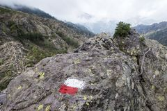 Marking. On a rock in the mountains Royalty Free Stock Images