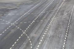 Marking on a multi-lane asphalt motorway. Background stock photos