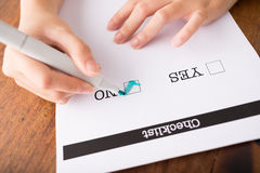 Marking no checkbox Royalty Free Stock Images