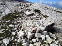Marking the path Alfredo Benini in the Brenta Dolomites mountain Stock Image