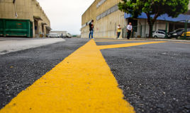 Marking on the pavement in the cargo terminal where all-cargo aircrafts usually park, Rio de Janeiro, Brazil Royalty Free Stock Photography