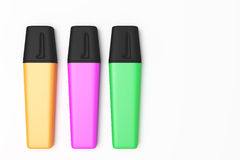 Marking pen. 3d rendering of some colored marking pens Royalty Free Stock Photography