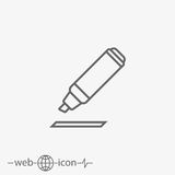 Marking pen vector icon. On grey background Stock Photo