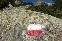Marking. Red white marking on a rock Royalty Free Stock Photos