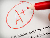 Marking school paper. Or report Royalty Free Stock Images