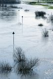 Marking the waterway during flood Stock Photos