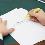 Marking words in a bankruptcy definition Stock Images