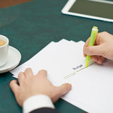 Marking words in a budget definition Royalty Free Stock Photo
