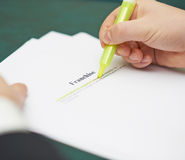 Marking words in a franchise definition Royalty Free Stock Images