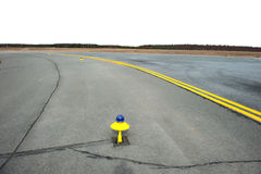 Marking yellow runway of a small airfield. Royalty Free Stock Photography