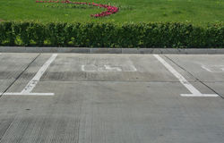 Markings on the asphalt for Parking for disabled Stock Photo