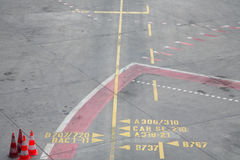 Markings on the concrete at the airport Stock Photography