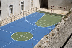 Markings on a sports court. SPORTS COURT DUBROVNIK CROATIA - MAY 2016 - An overview of a school sports court painted for use in various sports Royalty Free Stock Photos