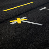 Markings on street pavement Stock Photo