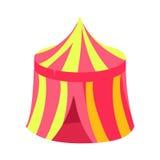 Markis för rosa färg- och gulingcirkuskiosk, isolerad ganska landskap beståndsdel för sagagodisland i barnslig färgrik design royaltyfri illustrationer