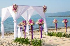Markis för strandbröllop Royaltyfri Fotografi
