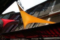 Markisen in Carcassonne. Stockbild