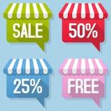 Markisen-Sprache-Blasen-Verkaufs-freier Satz Stockfoto