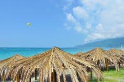 Markiser av palmblad på stranden Arkivbild
