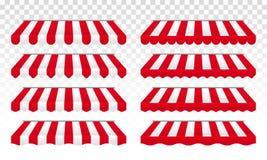 Markistält med den röda vektorn och vitband royaltyfri illustrationer