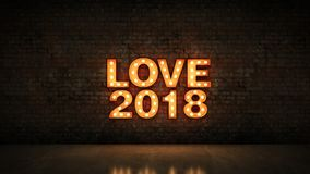 Markizy światła miłości 2018 listowy znak, nowy rok 2018 świadczenia 3 d royalty ilustracja