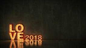 Markizy światła miłości 2018 listowy znak, nowy rok 2018 świadczenia 3 d ilustracji