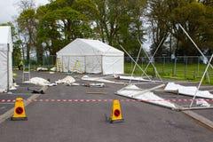 Markizy wyprostowywają jako część w przygotowaniu do rocznika Belfast wiosny przedstawienia przed eksponentami ruszają się wewnąt Obrazy Stock