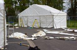 Markizy wyprostowywają jako część w przygotowaniu do rocznika Belfast wiosny przedstawienia przed eksponentami ruszają się wewnąt Zdjęcie Royalty Free