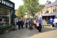 Marknad Bakewell, Derbyshire. Arkivbild
