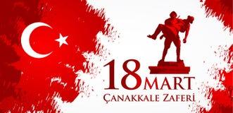 Marknad för Canakkale zaferi 18 Översättning: Turkisk nationell ferie av dagen för mars 18, 1915 den ottomanCanakkale segern royaltyfri illustrationer